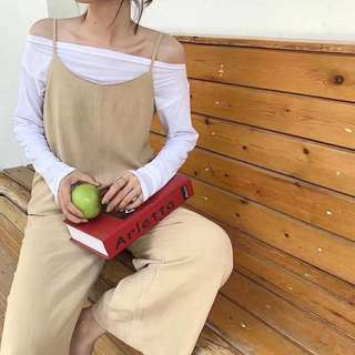 Minimei追加款✪3色顯瘦韓系韓版百搭休閒韓國早秋新款一字領長袖T恤+麻料淨面闊腿連體褲套裝2件套