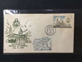 1958 Philippines Inauguration Of Manila Cathedral First Day Cover (Toned)