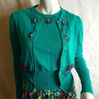 Blumarine Cashmere Blend Blue Green Beaded Emroidery Cardigan Sweater SET of 2