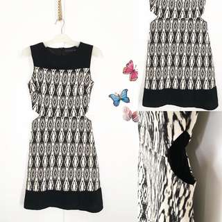 Bodycon Black abstract crop side (size S)