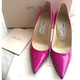 Jimmy Choo   patent leather heel pumps shoes   ''Size: 37-1/2,  Made in Italy'' __