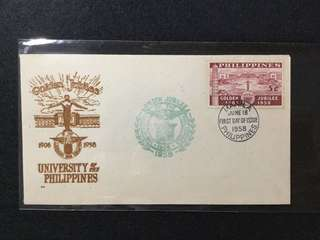 1958 Philippines Golden Jubilee Of The University Of the Philippines  First Day Cover (Toned)