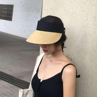 卡其/米/黑*編織遮陽草帽 ::::: Mercci22同款空頂帽遮陽帽防曬帽太陽帽紫外線出遊旅遊爬山玩水韓可折疊魔鬼氈