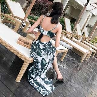🚚 Candy w❤️實拍❤️ 波希米亞度假雪紡綠葉印花長洋裝