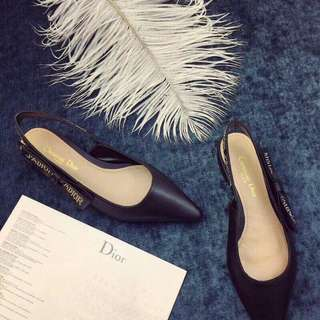 Christian Dior J'adior Flats Black Leather