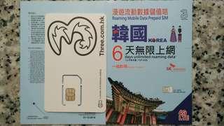韓國 6日 數據卡 4G 3GB +128kbps 無限數據 上網卡 SIM Card