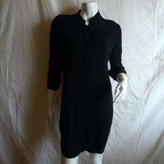 POLO Ralph Lauren Blue Label- Flowy High Collar Shirt Dress in Black