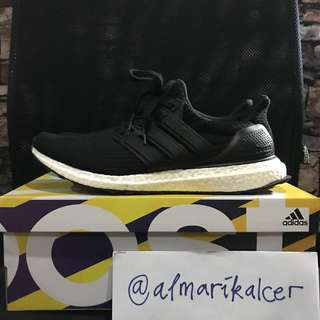 Adidas ultra boost 3.0 leather cage black sz 9.5 us 43 original used