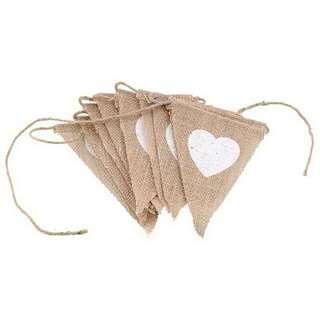 Triangular Plus White Heart Shaped Cloth Banner