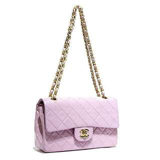 Vintage Chanel粉紅色羊皮金扣2.55 classic flap bag 23x14x6cm
