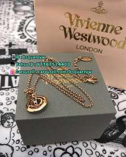 (現貨3條) 購自英國 Vivienne Westwood NEW PETITE 合金 迷你 彩閃石 3D立體土星項鏈 頸鍊 頸鏈 (保証正貨及全新) 玫瑰金