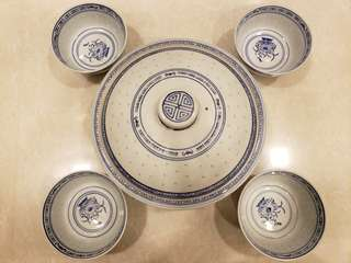 Vintage porcelain bowl set with cover (1big+4small)