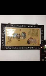Large Chinese Horse painting in hand carved frame