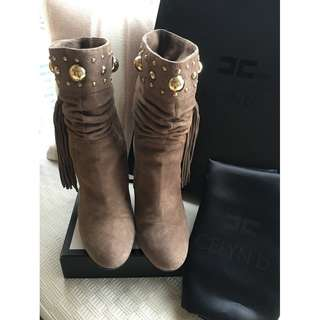 Elisabetta Franchi suede leather with logo studs & fringes booties shoes  *Size 37 ~Made in Italy