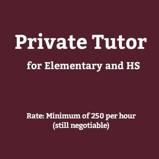 Private Tutor for Elementary and High School