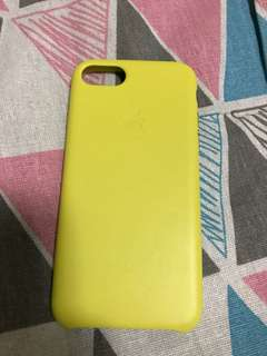 100% Apple Orignial iPhone 7/8 Yellow Leather Case 真皮黃色手機殼