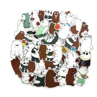 36pcs Bare Bear PVC Stickers