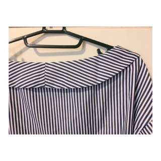 🚚 ❣️條紋一字領喇叭袖襯衫❣️#女裝半價拉