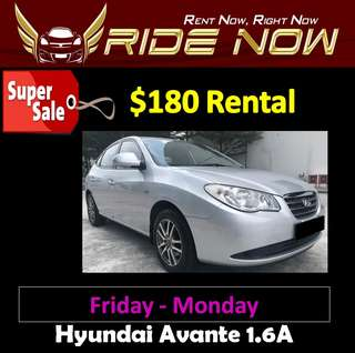 $180 Hyundai Avante 1.6A Weekend SALE