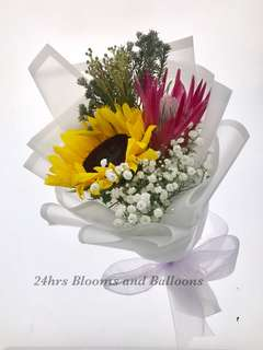 Sunflower and Protea Flower Bouquet