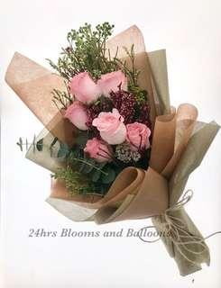 6 Stalk Rose Fresh Flower Bouquet
