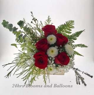 Rose Flower Arrangement in a wooden Jewelry Box