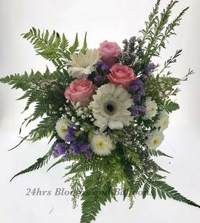 Rose and Gerbera Arrangement in a wooden Jewelry Box