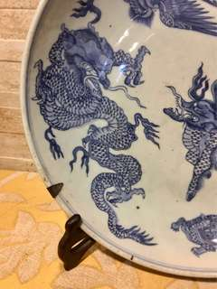 For sharing only 清顺治龙凤麒麟老虎龟背大盘Early Qing Dynasty antique plate无磕无冲no crack lines no chip off