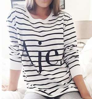 Aje Beatnik Sequin Logo Tee Sweater in Stripe - Size S 8-10 RRP $250