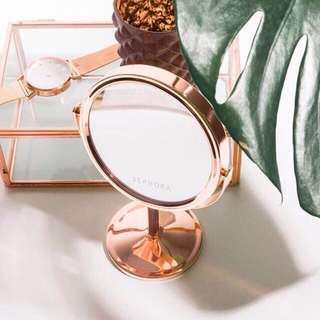 Sephora Rose Gold Standing Mirror Vanity Makeup Cermin Makeup Travel Mirror