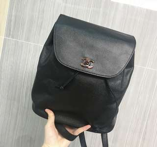 Vintage Chanel黑色荔枝皮玳瑁cc扣背包backpack 35x30cm