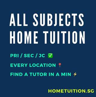 Maths/Science/English/Chinese/Chemistry/Physics/History/Geography Primary/Secondary/JC Home Tuition
