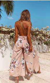 Hello Molly Boutique Maxi Backless Strappy Jumpsuit