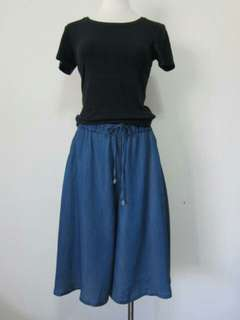 🚚 深藍鬆緊抽繩口袋五分寬褲褲裙
