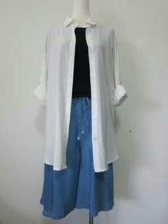 🚚 淺藍鬆緊抽繩口袋五分寬褲褲裙
