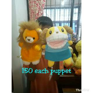 Lion and dogie puppets