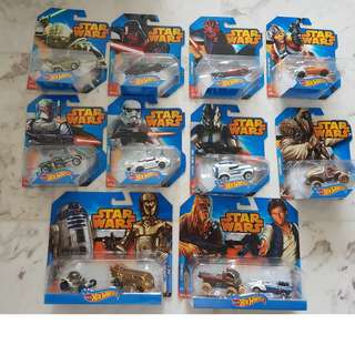 Star Wars Hot Wheels Cars (10 for $60)