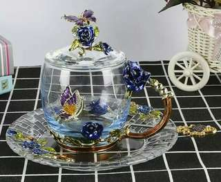 Enameled Crystal Glass BLUE ROSE Cup