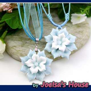 Blue Flower Ceramic Necklace 蓝花陶瓷项链
