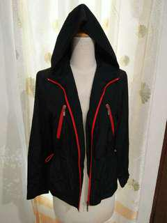 Jacket with red zipper
