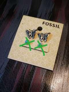 Fossil earring耳環(藍色圓珠耳環己售)