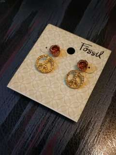 Fossil earring 耳環2對