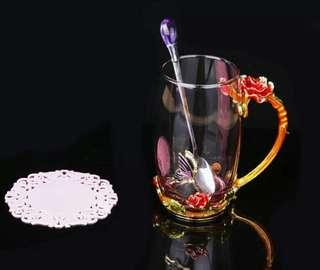 Enameled Crystal Glass RED ROSE Mug