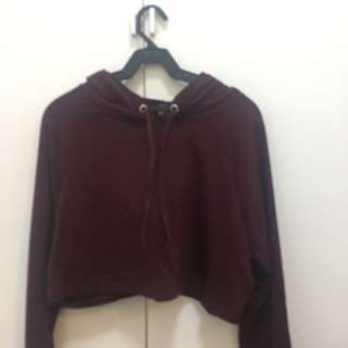 F21 hoodie pull over cropped top