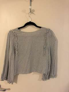 3/4 Sleeve Grey and White Crop