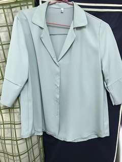🚚 藍綠色雪紡襯衫