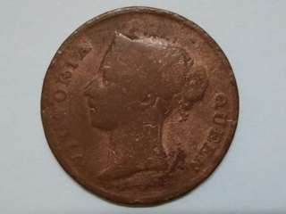 1862 India Straits Queen Victoria One Cent Old Malaya Straits Settlements Coin