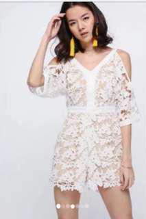 Love Bonito Farha lace playsuit in Cream XS