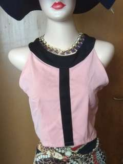 New - crop top warna peach
