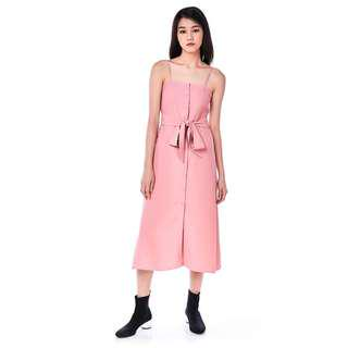 🚚 TEM Hyacie Button-Down Maxi Dress in Dust Pink
